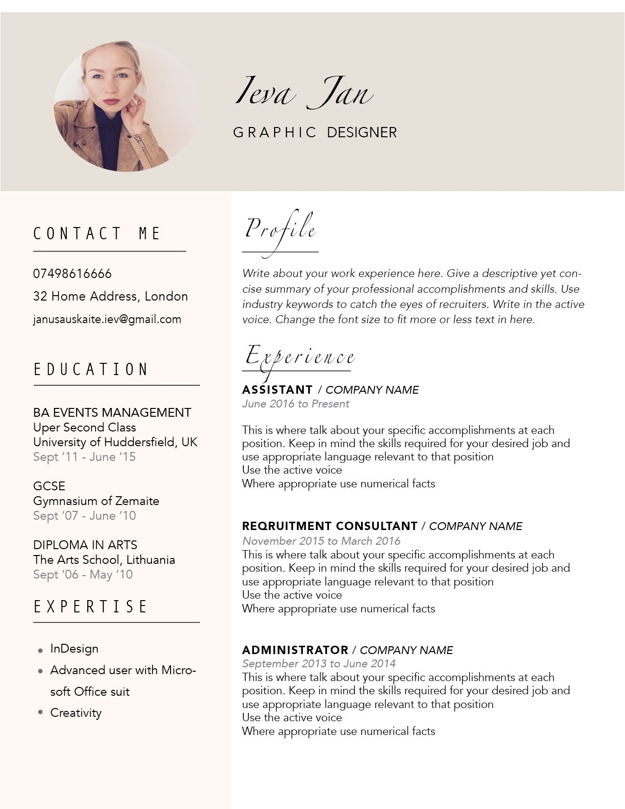 Hi there! I am cvbyeva meaning CV design is my thing. I am