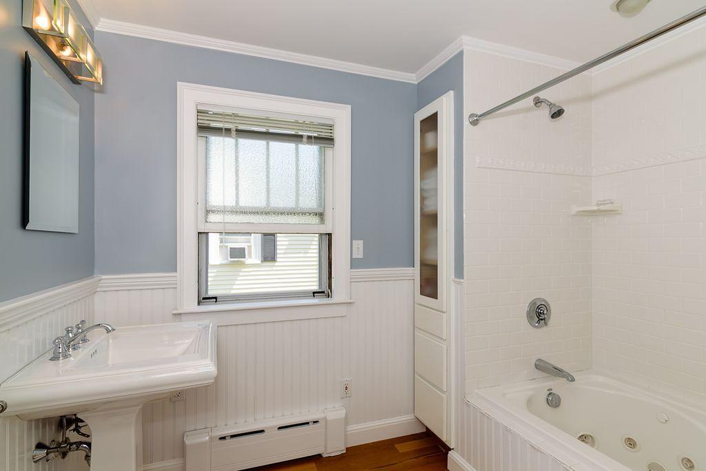 Cottage Full Bathroom With Hardwood Floors Wainscoting High Amusing Bathroom Crown Molding Inspiration
