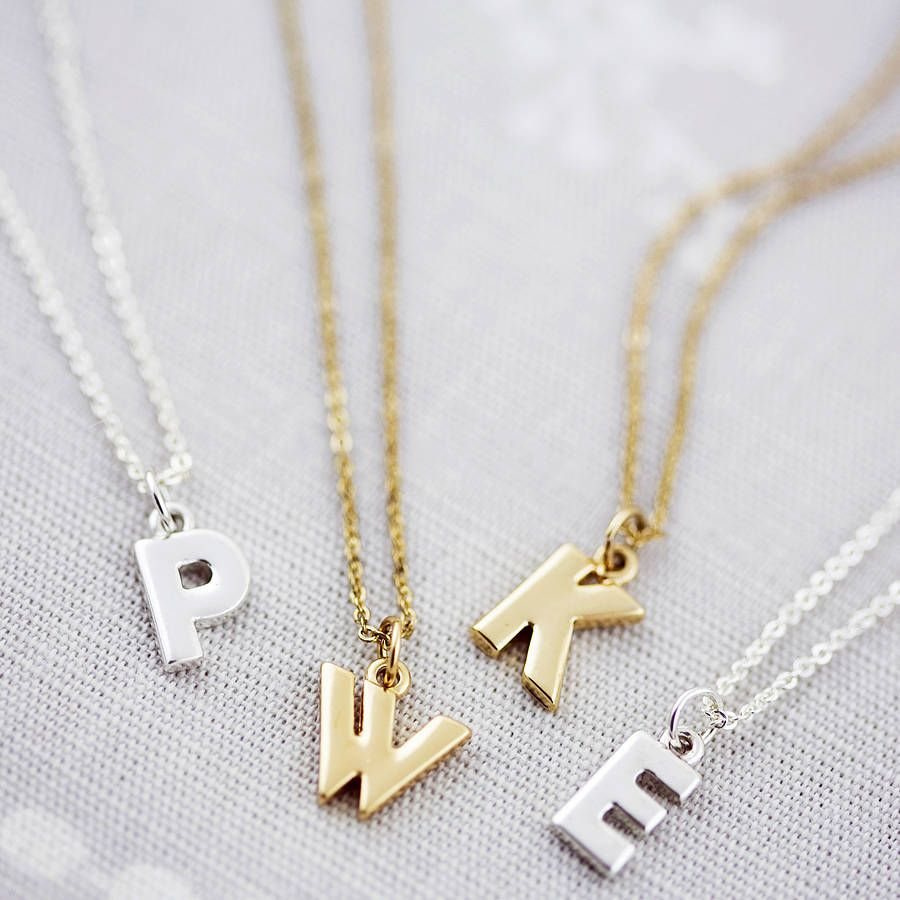 gold letter necklace brenner maya products
