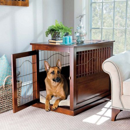 Exceptionnel Wood/Metal Pet Crate Table #improvementscatalog Dog Crate Table, Wooden Dog  Crate,