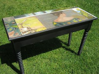 sofa table w oil on canvas collage-sold