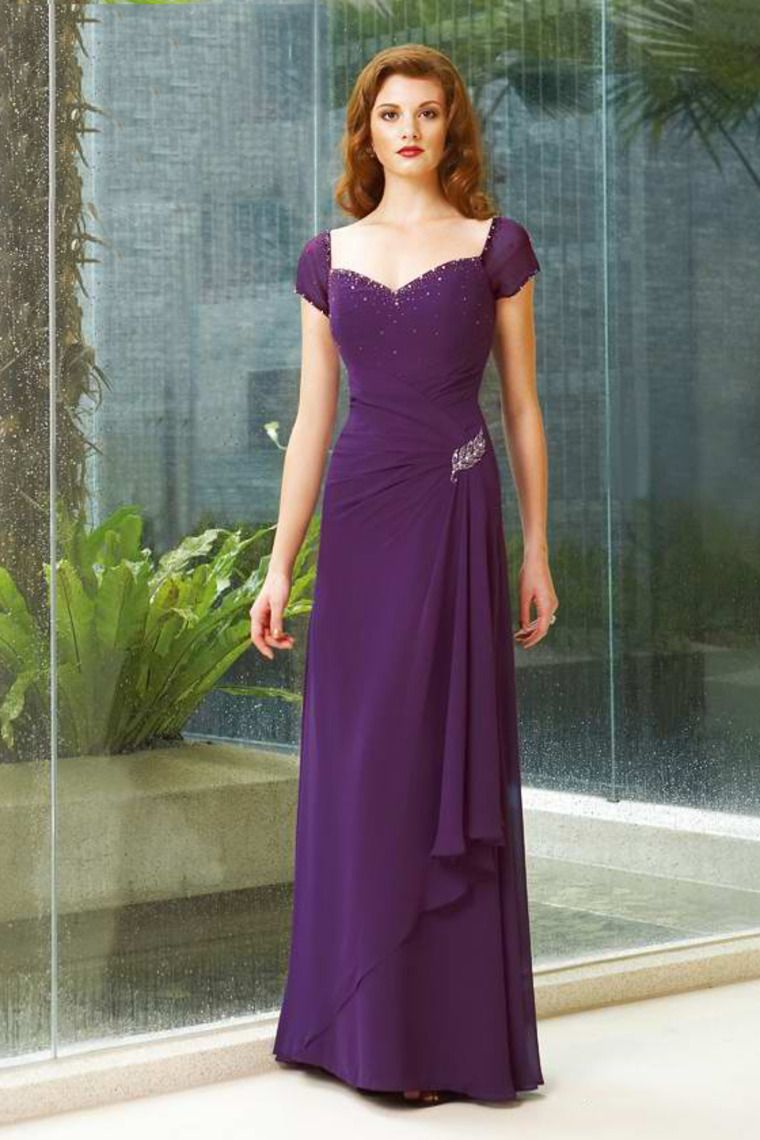 A Line Cap Sleeve Long Dress Beaded Mother Of The Bride Dres ...