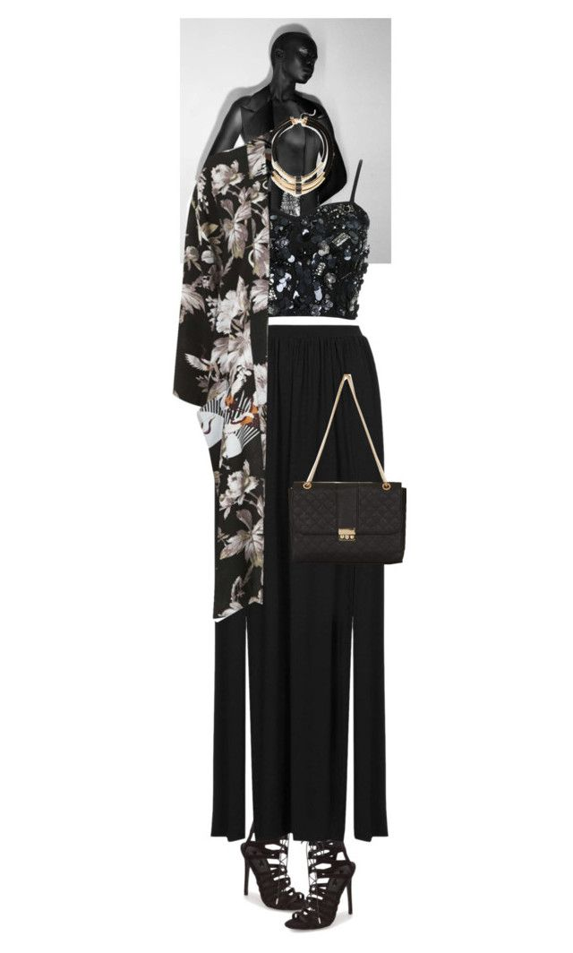 """""""Mamie #6018"""" by canlui ❤ liked on Polyvore featuring Topshop, floral, floralprint, floralprints and kimonos"""