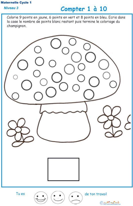 Imprimer l 39 exercice 1 pour compter les points d 39 un champignon gs le point champignon et - Exercice gs a imprimer ...