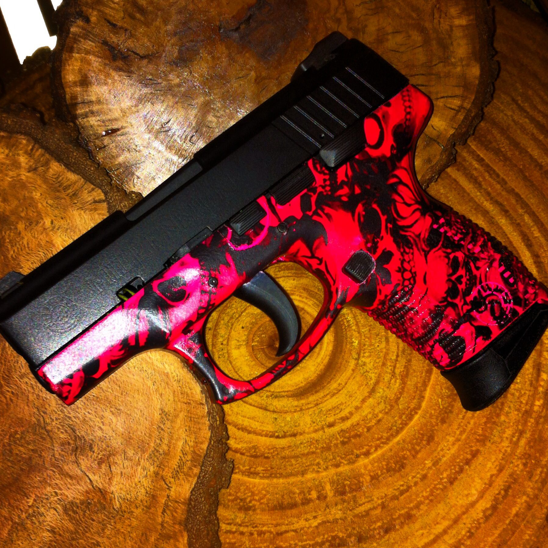 Taurus PT111 Millennium Pro in armor black and pink skull