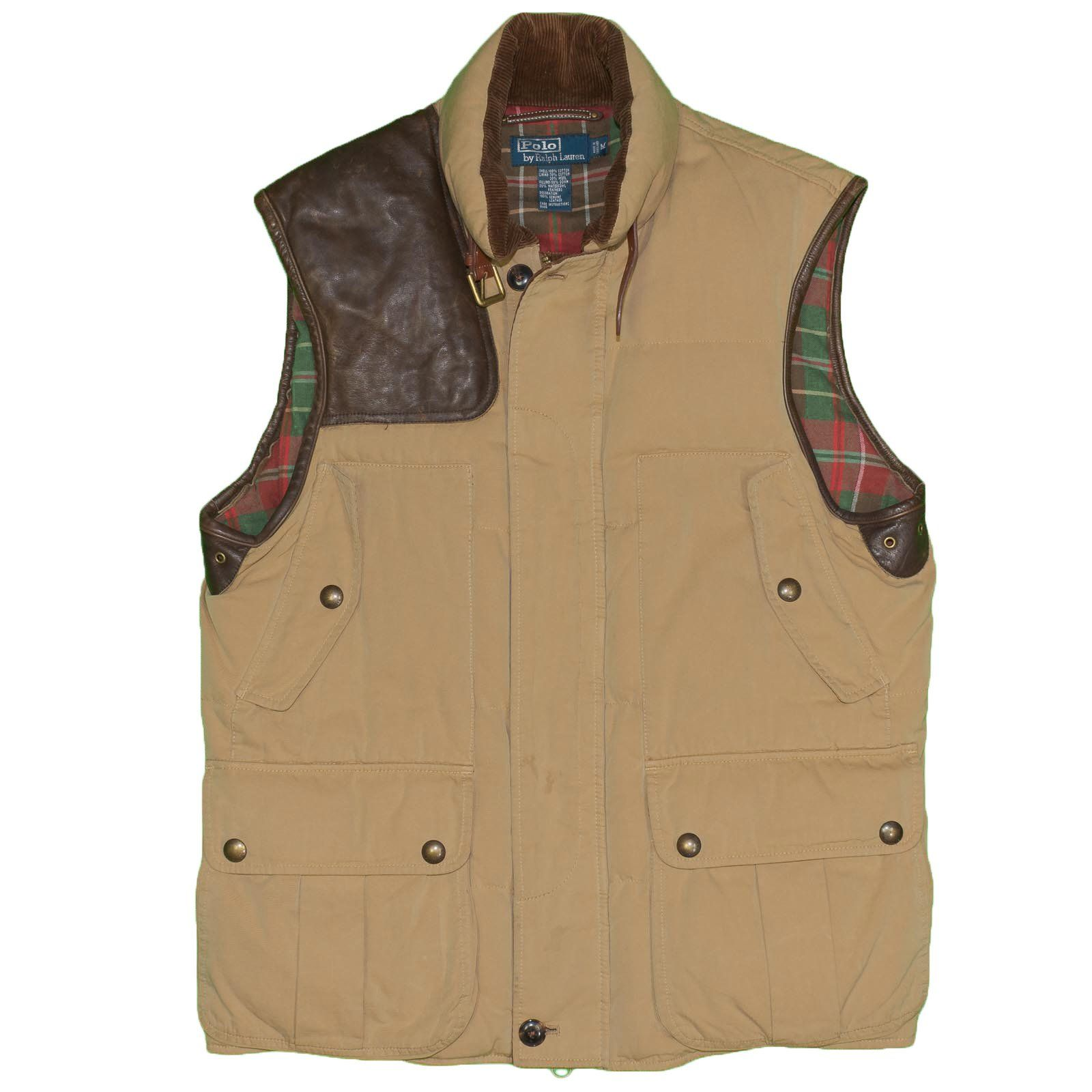 Polo Ralph Lauren Men's Vest Jacket Medium Leather Down