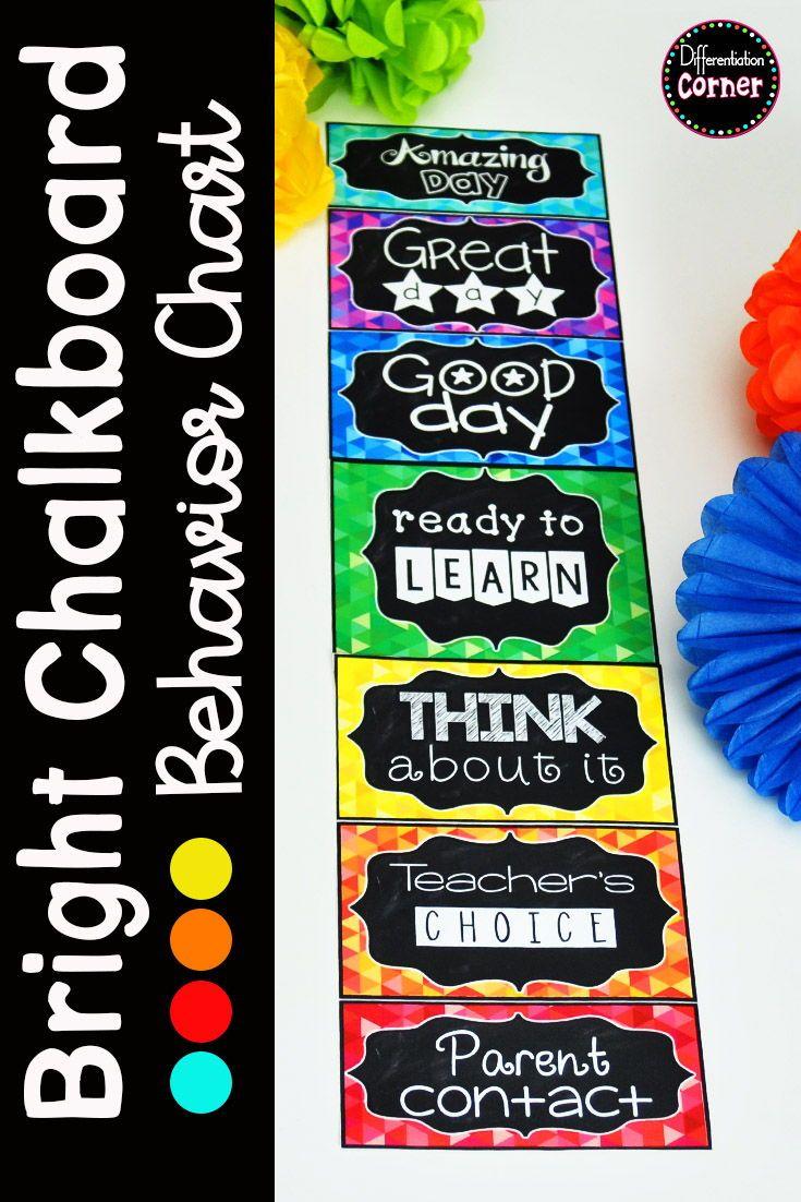 Behavior Clip Chart Chalkboard Brights #elementaryclassroomdecor