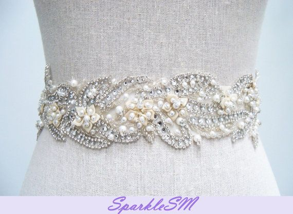 Couture Bridal Sash  Liv by SparkleSM on Etsy, $260.00
