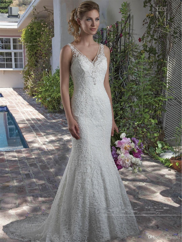Elegant Lace Wedding Dresses 2017 Mary\'s Bridal with Beaded V Neck ...