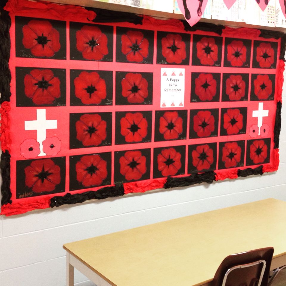 Remembrance Day Oil Pastel Poppies Bulletin Board. Grade 2