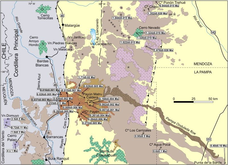 Geologic Map In The Area Of The Shield Volcano Payun Matru In - Argentina volcanoes map