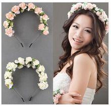 Envío gratis 2015 flor guirnalda Floral novia Hairband de la venda WeddingPartyPromFestival decoración princesa Floral Wreath celada(China (Mainland))