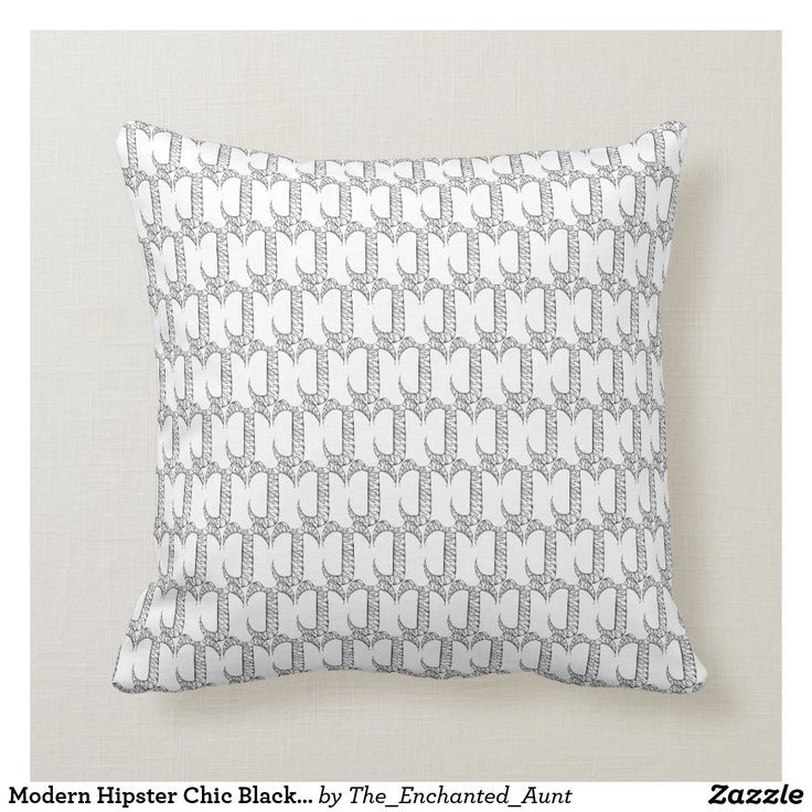 Modern Hipster Chic Black White Decorative Throw Pillow.  This awesome design featuring the letter J is a throw pillow for the cool and modern home. The black and white shape and pattern are repeating to create a never-ending design. This design is black on one side and white on the other. Flip around the pillow for whatever mood you're in! #pillows  #throwpillowsforbed #pillowpattern #blackandwhite #throwpillows
