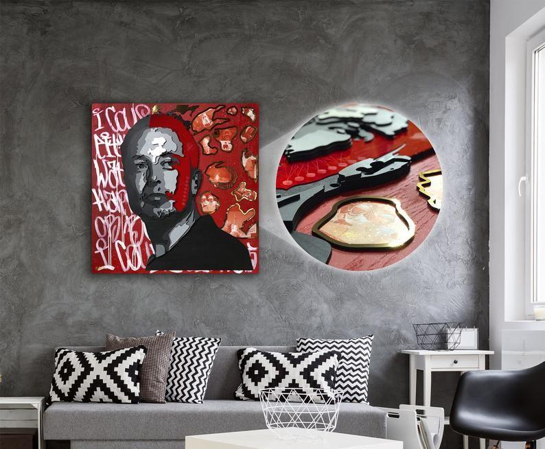 Elon Musk Wall Art 3d Wood Wall Decor Modern Pop Art Original Painting Office Decor Modern Pop Art Wood Wall Decor Modern Wall Decor