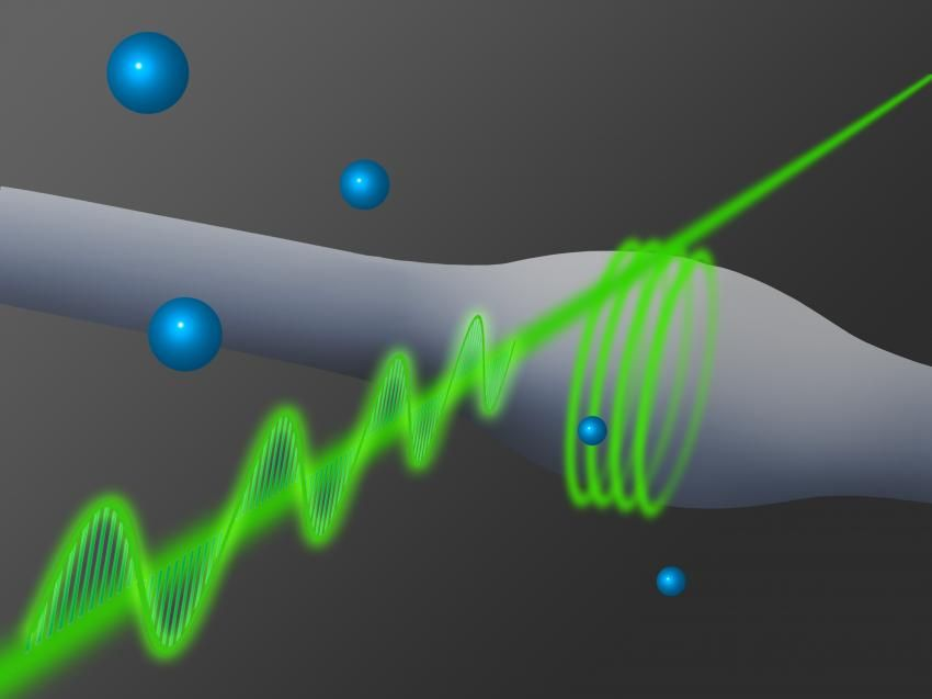 Glass fiber is coupled to a bottle resonator.   Usually, light waves do not interact with each other. Coupling of photons with other photons is only possible with the help of special materials and very intense light. Scientists in Vienna have now created the strongest possible coupling of only two photons—an important achievement for quantum optics.  http://phys.org/news/2014-11-photons-strongly-coupled-glass-fiber.html