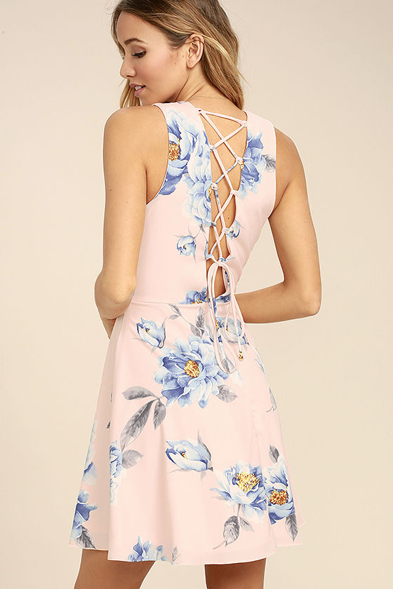 3a6706c32d3a1 Dance gracefully through the flowers in the Garden Walk Blush Pink Floral  Print Lace-Up Skater Dress! Blue, white, and yellow floral print adorns  blush pink ...