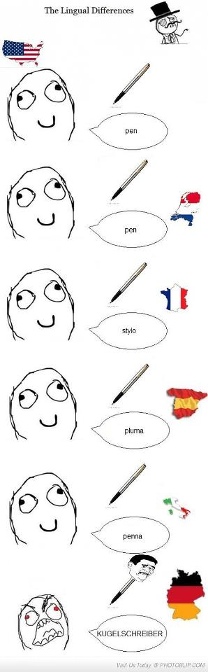 How To Say Pen In Different Languages Funny Pictures German Bones Funny
