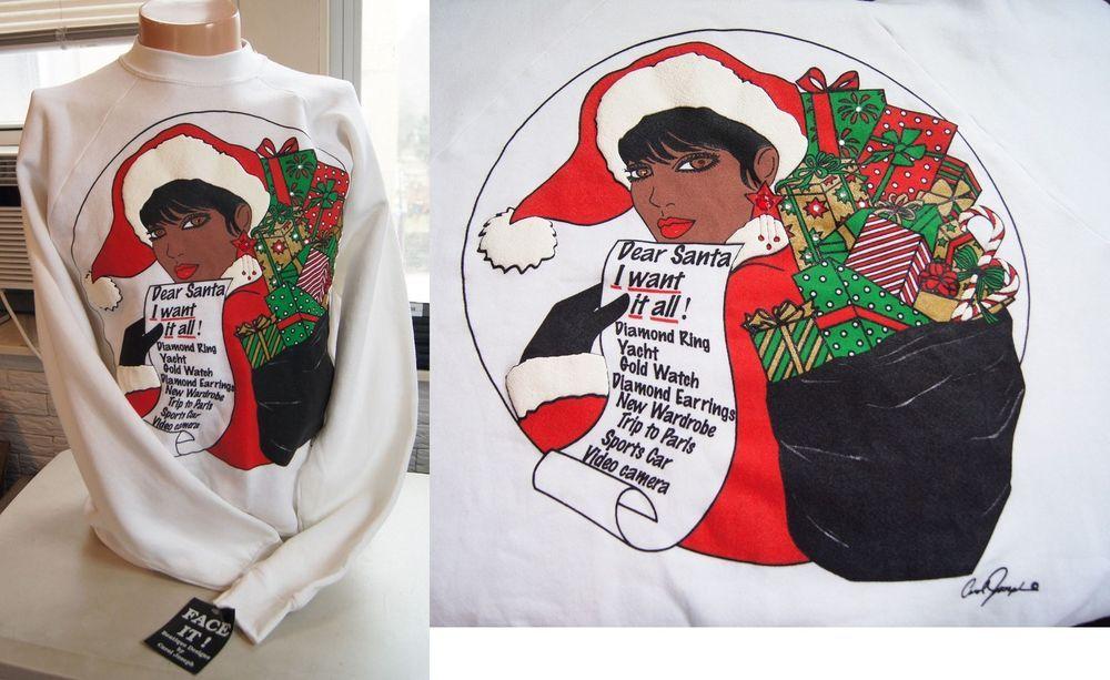 Vintage Christmas Sweatshirt 90s Dear Santa African American Ugly