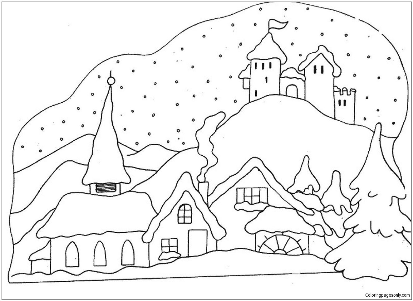 Snowy Winter Coloring Page Coloring Pages Winter Coloring Pages Applique Quilts