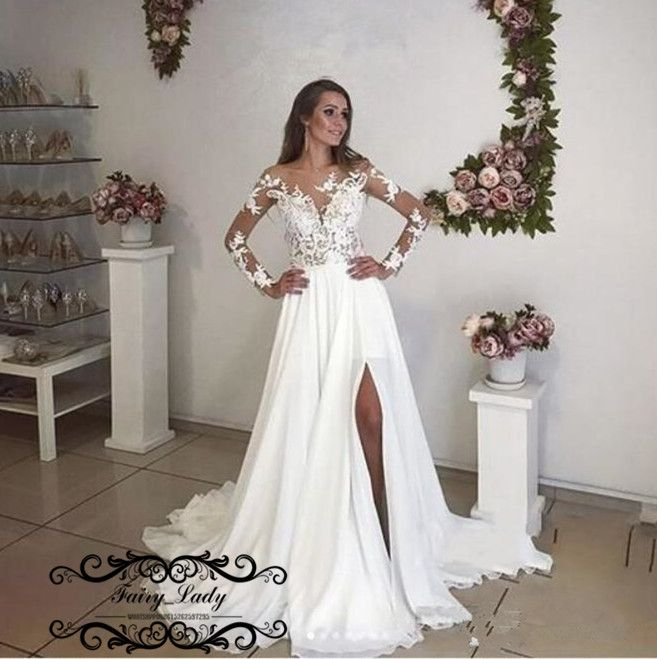Flowing Chiffon Bohemia Beach Wedding Dresses 2018 Long Sleeves White Sheer  Lace Side Split Bridal Dress Gown Vestido De Noiva 0be521eed4f2