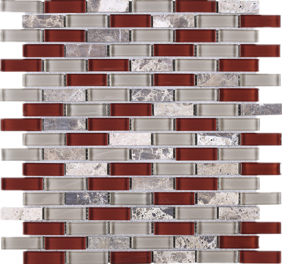 Best Tbcdg 06 Burgundy Red Mix Gray Brick Glass Mosaic Tile In 640 x 480