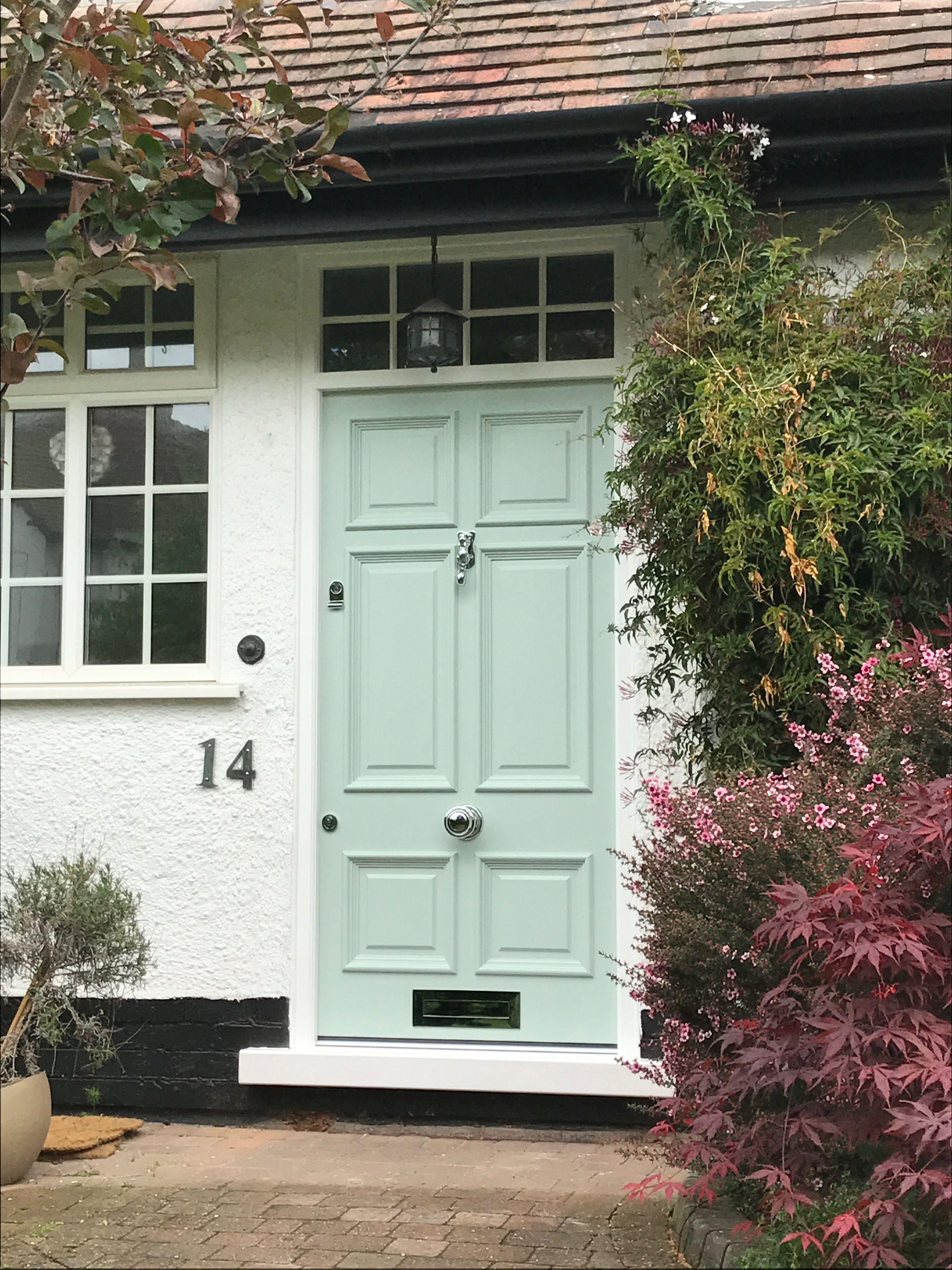 Our New Front Door Farrow Ball Teresa Green Painted Front Doors Green Front Doors Front Door