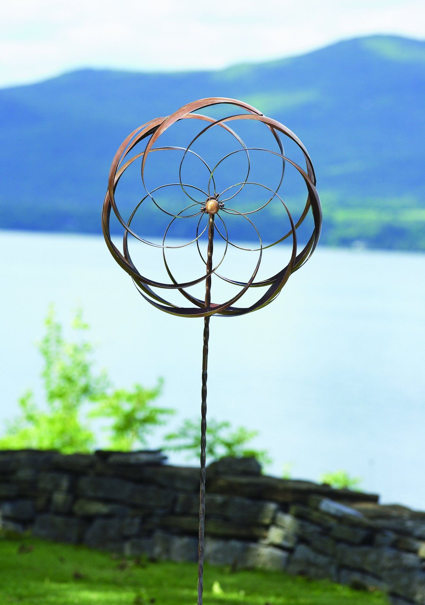 24 Copper Verdigris Flower Garden Wind Spinner Garden Yard Spinners Takes Pride Of Place In Your Gard Garden Spinners Wind Spinners Garden Wind Spinners