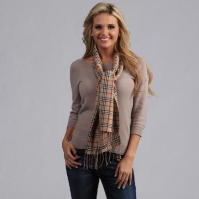 $14, Beige Plaid Scarf: Peach Couture Woven Camel Plaid Scarf. Sold by Overstock. Click for more info: https://lookastic.com/women/shop_items/81050/redirect