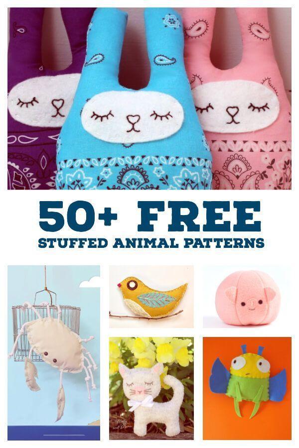 50+ Easy Free Stuffed Toy Patterns to Sew #stuffedtoyspatterns