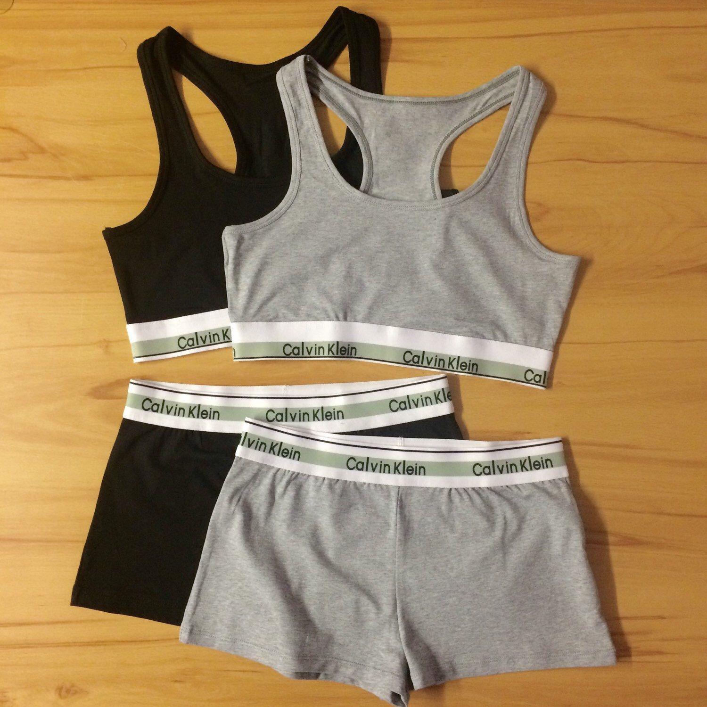a7e9dd52500d4 Reworked Underwear Set Calvin Klein Sports Bra and Shorts in Grey or Black  by MizBradshaw on