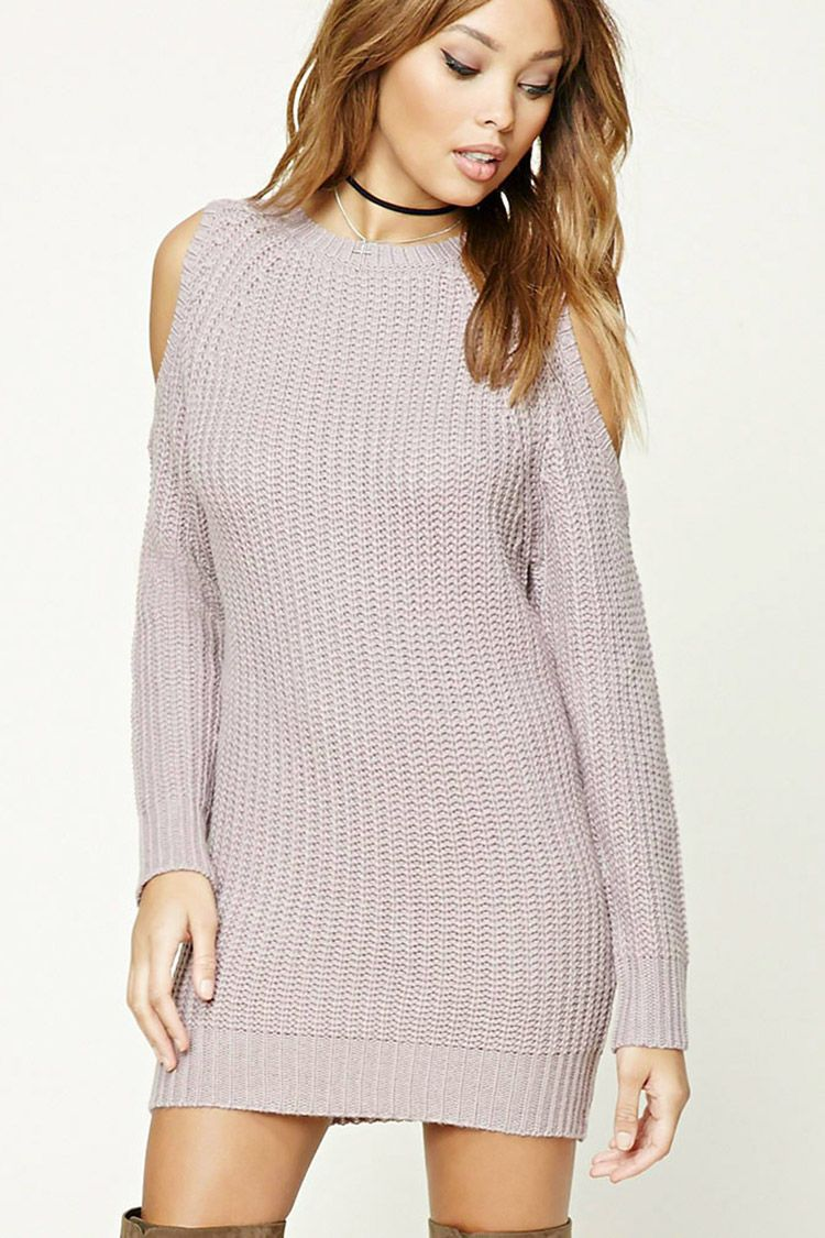 e19d9c50969 A ribbed knit sweater dress featuring a mini length