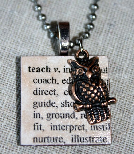 Teach defined wooden tile necklace with copper owl charm on teach defined wooden tile necklace with copper owl charm on stainless steel chain great teacher mozeypictures Gallery