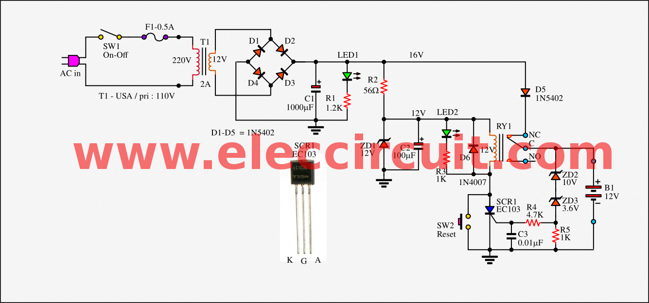 this is simple automatic battery charger circuit using the small scr and relay is cheap and can use all battery size by input source batterycharger [ 1335 x 624 Pixel ]
