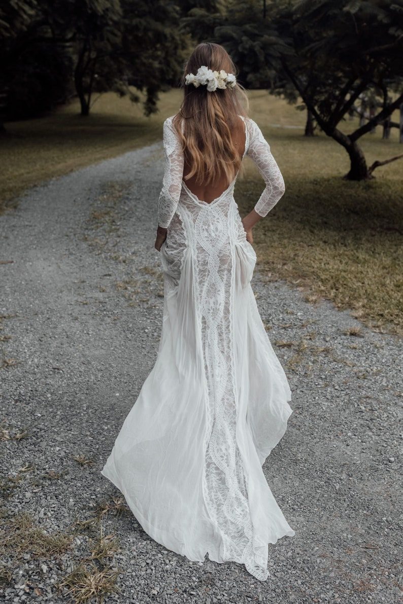 Gorgeous Vintage Boho Ivory Lace Wedding Dress Made To Order Beach Style Bridal Gown Long Sleeves Wedding Dress Bohemian Style Wedding Dress Long Sleeve Bohemian Wedding Dresses Ivory Lace Wedding Dress