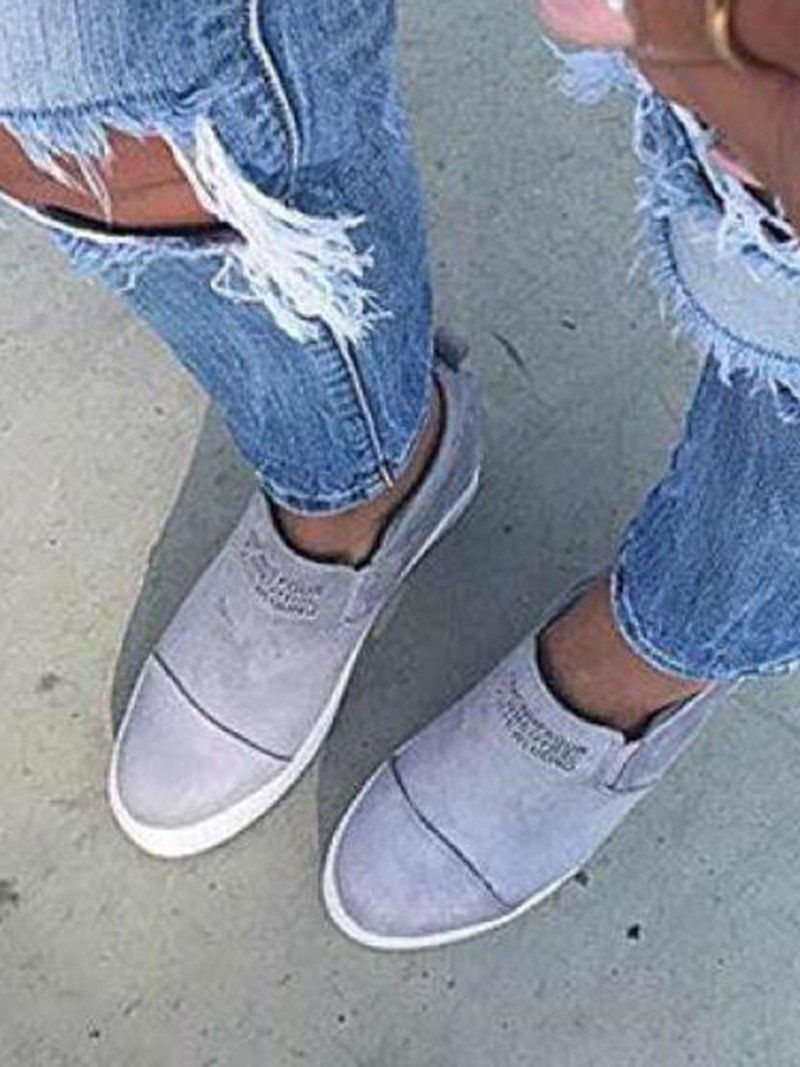 9cd73c53ab0b63 Fashion Letter Slip On Wedge Sneakers Faux Suede Wedge Heel Casual Sn –  lalasgal