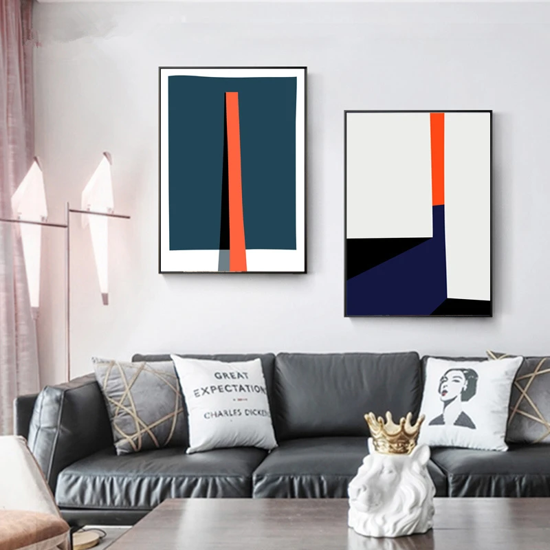 Bold Geometric Abstract Contemporary Canvas Art For Modern Office Or Home Nordicwallart Com Contemporary Art Canvas Wall Art Designs Abstract Art Poster