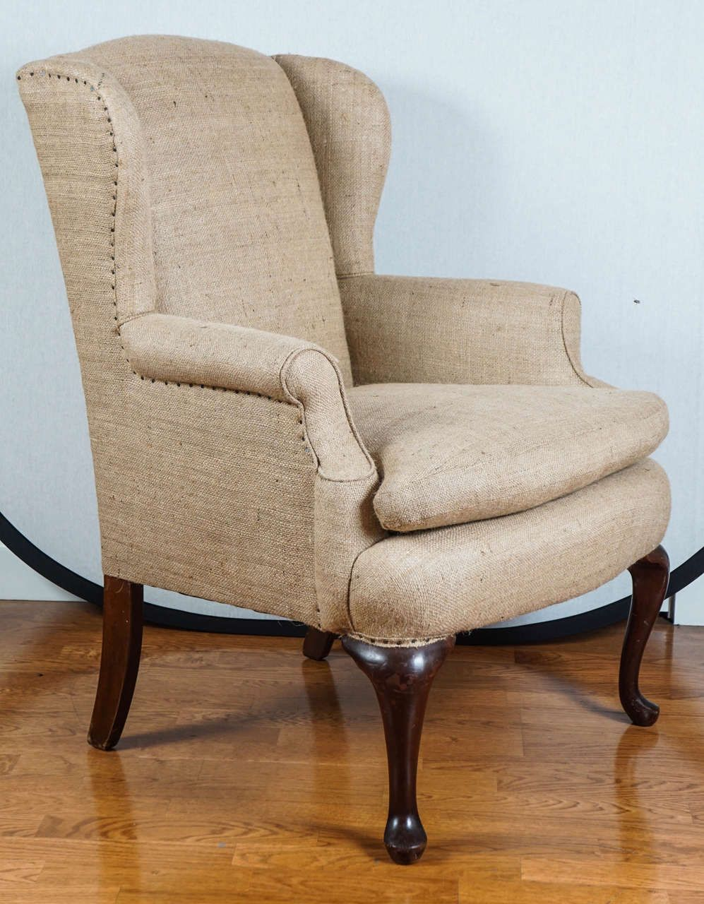 Superbe Burlap Wingback Chair At 1stdibs