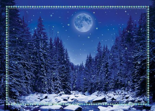 paintingssnow scenes | Snow Scenes Cards :: Snow Scenes Christmas Cards :: Moon in Winter ...