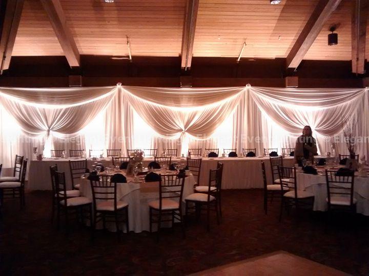 Ivory Head Table Backdrop Amber Uplighting Trillium Ballroom Indian Lakes Resort