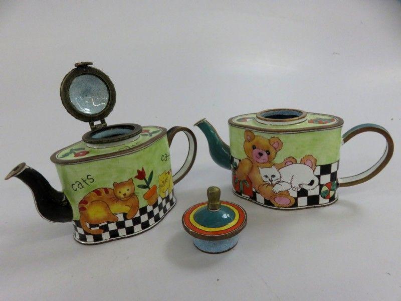 KELVIN CHEN Enamel Copper Handpainted Mini Miniature Copper Teapot Panda