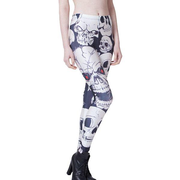 Black and White Stylish Womens Skull Printed Skeleton Leggings (105 NOK) ❤ liked on Polyvore featuring pants, leggings, black, black legging pants, black skull leggings, skull pants, white and black leggings and skull print leggings
