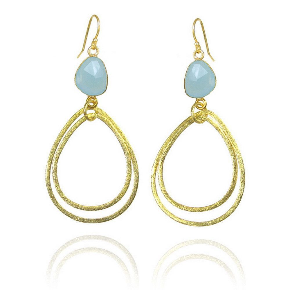 Sea-Foam Aqua Chalcedony Brushed Gold Earrings - Bezel Set Semiprecious Stone Gemstone Earrings