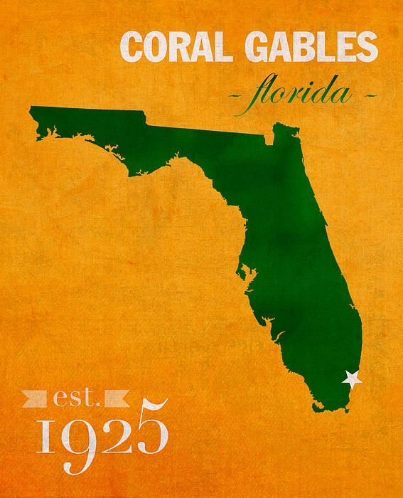 Coral Gables Map Florida.University Of Miami Hurricanes Coral Gables College Town Florida