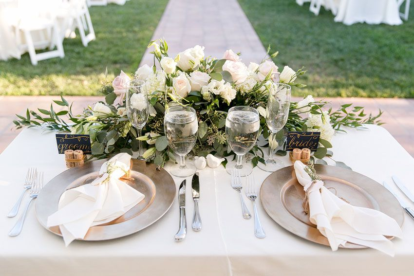 Bride and Grooms table setting at Villa de Amore Southern California Outdoor wedding venue near Orange County in the Temecula Wine Region & Bride and Grooms table setting at Villa de Amore Southern ...