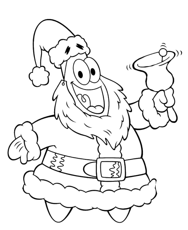 Patrick Friend Spongebob Christmas Bells Coloring Page
