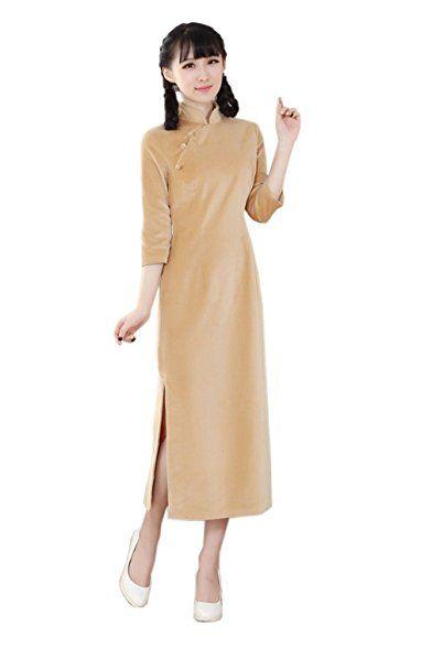 YueLian Damen Frauen Sommer Herbst Lange QiPao Kleid Cheongsam 3/4 ...
