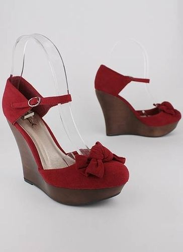 96d2399a018 bow front mary jane wedge  25.60 in BLACK RED TAUPE - Wedges ...
