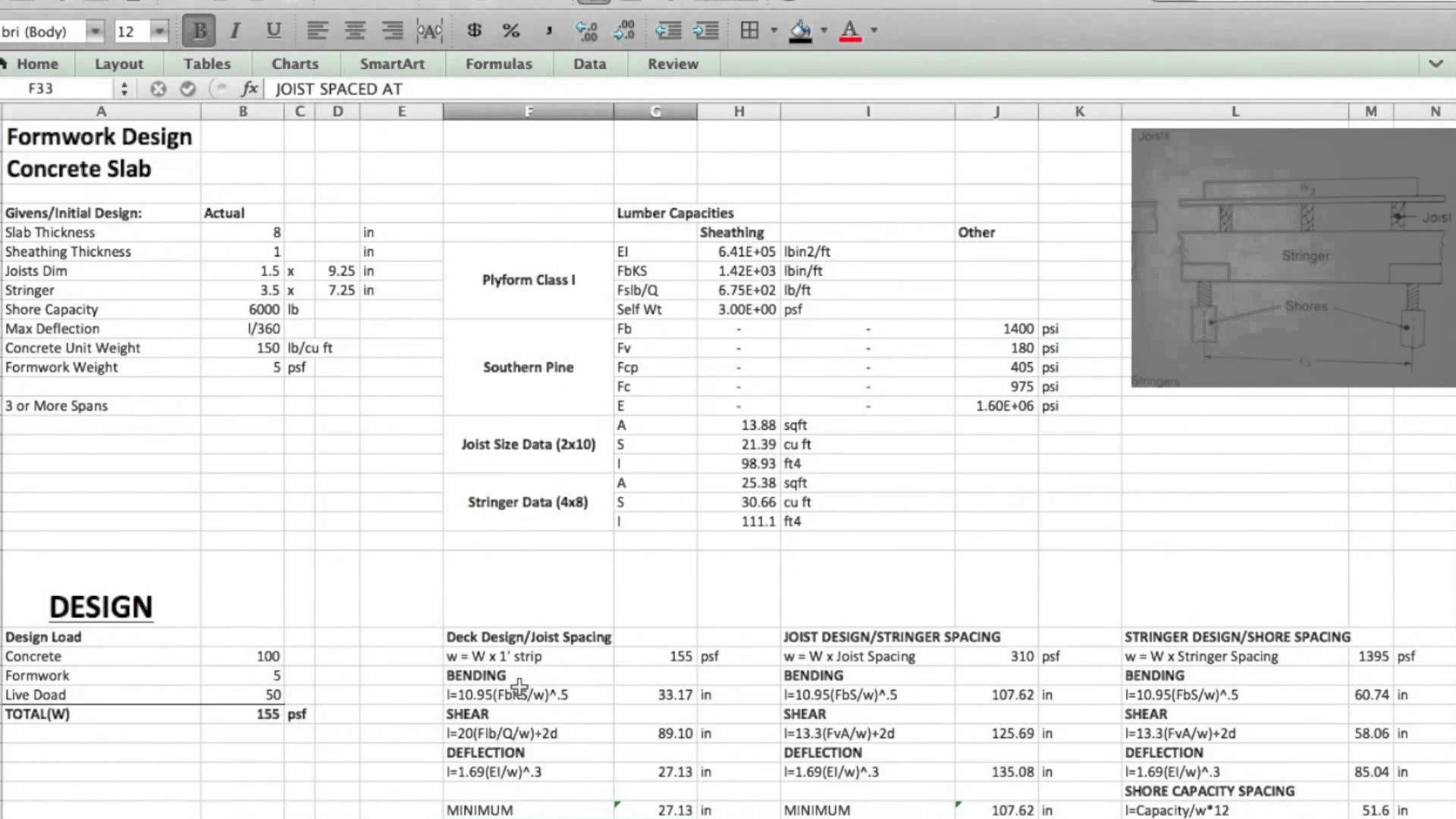 Formwork Design Spreadsheet In