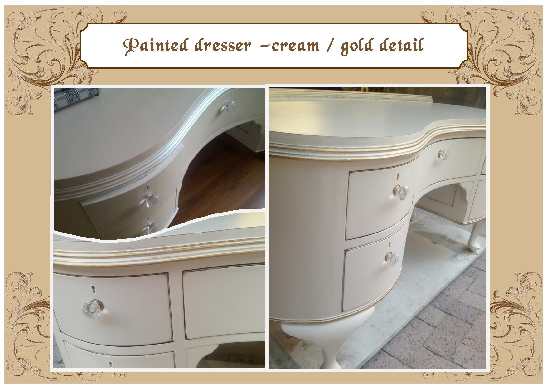 Off white dressing table with gold detail
