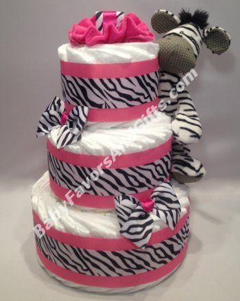 Pink Zebra Diaper Cake With Images Zebra Diaper Cakes Baby
